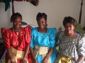 Rhemmie Kiggundu( auntie) with two of my sisters attending my brother's 'kwanjula'