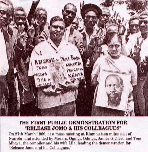 The 1st public demonstration in Kenya for release of Kenyatta and his colleagues