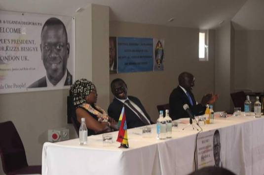 Besigye with his wife,Winnie Byanyima, at one of the conferences in London