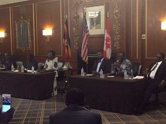 Besigye with other VIPs at the UNAA Conference in Boston
