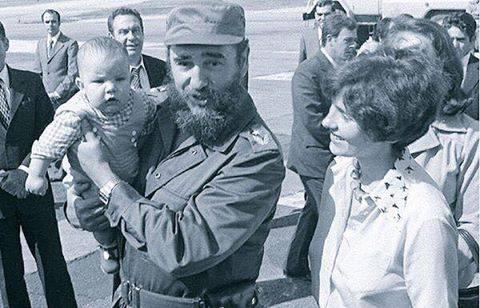 Fidel Castro holding Justin Trudeau, the Prime Minister of Canada!